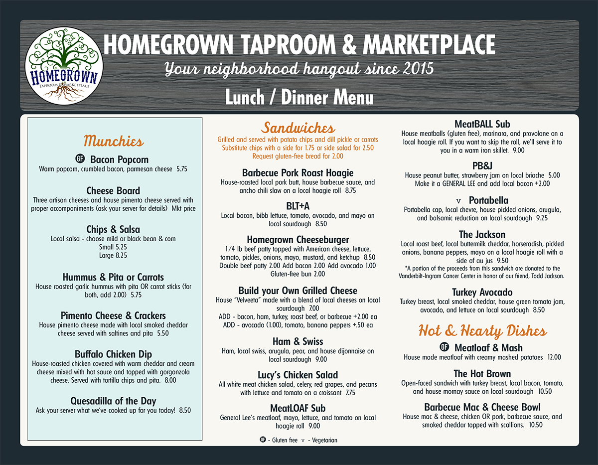 food homegrown taproom marketplace
